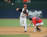 St. John's Joe Panik (2) forces out Mississippi's Taylor Hashman (27) and throws to first for a double play  during an NCAA Regional game at Davenport Field in Charlottesville, Va. on Sunday, June 6, 2010.