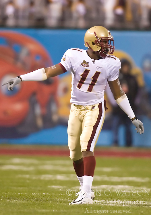 Dec 26, 2009; San Francisco, CA, USA;  Boston College Eagles wide receiver Clarence Megwa (11) during the second quarter against the Southern California Trojans in the 2009 Emerald Bowl at AT&T Park.  USC defeated BC 24-13.