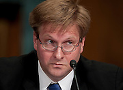 May 27, 2010 - Washington, District of Columbia, U.S., - Darren Bush, associate professor of law at the University of Houston Law Center, testifies before a Senate Judiciary Committee Hearing on the United and Continental Airlines Merger. .(Credit Image: © Pete Marovich/ZUMA Press)