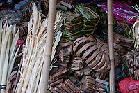 Balinese ceremonial goods for sale at Sukawati Market in Bali, Indonesia