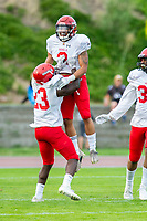 KELOWNA, BC - AUGUST 17:  Polis Koko #23 and Colby Henkel #2 of Westshore Rebels celebrate a touchdown against the Okanagan Sun  at the Apple Bowl on August 17, 2019 in Kelowna, Canada. (Photo by Marissa Baecker/Shoot the Breeze)