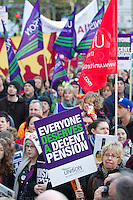 Unison members on the TUC Day of Action 30th November, Leeds..© Martin Jenkinson, tel 0114 258 6808 mobile 07831 189363 email martin@pressphotos.co.uk. Copyright Designs & Patents Act 1988, moral rights asserted credit required. No part of this photo to be stored, reproduced, manipulated or transmitted to third parties by any means without prior written permission