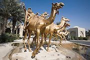 "Jumeirah Beach. ""The One and Only Royal Mirage"" Hotel. Camel Monument at the entrance."