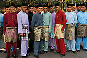 Policemen in traditional dress for HM Sultan's birthday attendance of his Mosque