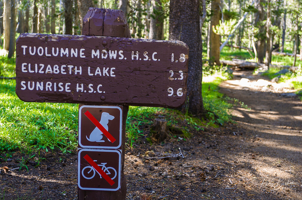Trail sign, Tuolumne Meadows, Yosemite National Park, California USA