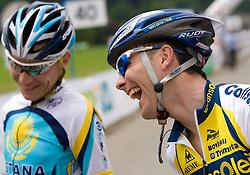 Jani Brajkovic and Borut Bozic at Slovenian National Championships in Road cycling, 178 km, on June 28 2009, in Mirna Pec, Slovenia. (Photo by Vid Ponikvar / Sportida)
