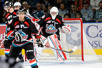 KELOWNA, CANADA, OCTOBER 5: Adam Brown #1 of the Kelowna Rockets defends the net on October 5, 2011 at Prospera Place in Kelowna, British Columbia, Canada (Photo by Marissa Baecker/shootthebreeze.ca) *** Local Caption *** Adam Brown;