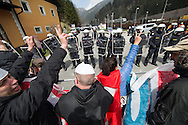 Protestors try to break police lines at a demonstration against cross assurance measures at the border from Italy to Austria in Gries am Brenner, Austria.<br /> Picture by EXPA Pictures/Focus Images Ltd 07814482222<br /> 24/04/2016