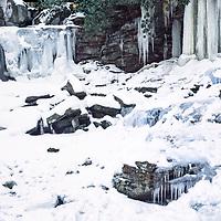 Snow and ice adorn Elakala Falls, Blackwater Falls State Park, WV