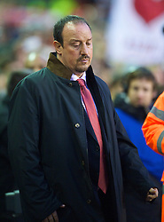 LIVERPOOL, ENGLAND - Sunday, December 13, 2009: Liverpool's manager Rafael Benitez looks dejected as his side lose 2-1 to Arsenal during the Premiership match at Anfield. (Photo by: David Rawcliffe/Propaganda)