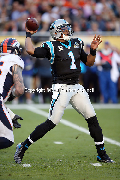Carolina Panthers quarterback Cam Newton (1) throws a completed first quarter pass short of a first down during the NFL Super Bowl 50 football game against the Denver Broncos on Sunday, Feb. 7, 2016 in Santa Clara, Calif. The Broncos won the game 24-10. (©Paul Anthony Spinelli)