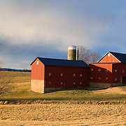 Red barn before sunset near Leesburg, Virginia