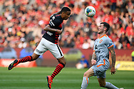 SYDNEY, AUSTRALIA - NOVEMBER 02: Western Sydney Wanderers midfielder Keanu Baccus (17) heads the ball during the round 4 A-League soccer match between Western Sydney Wanderers FC and Brisbane Roar FC on November 02, 2019 at Bankwest Stadium in Sydney, Australia. (Photo by Speed Media/Icon Sportswire)