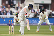 Mark Stoneman of England is bowled by Mohammad Abbas of Pakistan on Day One of the NatWest Test Match match at Lord's, London<br /> Picture by Simon Dael/Focus Images Ltd 07866 555979<br /> 24/05/2018