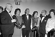 20/09/1967<br /> 09/20/1967<br /> 20 September 1967<br /> International SPAR dinner at the Shelbourne Hotel, Dublin. Picture shows (l-r): Mr Henri Holland, President, Spar International; Mrs Holland; Mr George Colley, Minister for Industry and Commerce; Mrs Mary Colley; Mr D.A. O'Connell, Chairman SPAR (Ireland) Limited and Mrs O'Connell at the event.