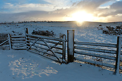 © Licensed to London News Pictures. 13/01/2017. Builth Wells, Powys, Wales, UK. A very wintry landscape is seen after more snow fell last night on the high moorland of the Mynydd Epynt range in Powys, Wales, UK.<br />  Photo credit: Graham M. Lawrence/LNP