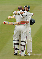 Hashim Amla of South Africa is congratulated by Ashwell Prince after reaching his centry at Lord's on the fifth day of the first Test on the 14th of July 2008..England v South Africa.Photo by Philip Brown.www.philipbrownphotos.com