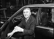Oliver J Flanagan Arrives at Dail.   (N86)..1981..21.07.1981..07.21.1981..21st July 1981..With the Government struggling to pass the budget proposed by the Minister for Finance ,John Bruton TD, the government called in all its TDs to bolster the vote. Oliver J Flanagan TD left St Vincents Nursing Home to attend the vote today. The budget contained some contentious decisions including a proposal to impose VAT on childrens shoes and clothing...Image shows Oliver J Flanagan TD arriving at Dáil Éireann to cast his vote for the proposed budget.