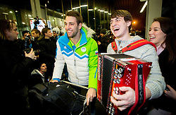 Ziga Pance, ice hockey player at reception of Slovenia team arrived from Winter Olympic Games Sochi 2014 on February 19, 2014 at Airport Joze Pucnik, Brnik, Slovenia. Photo by Vid Ponikvar / Sportida