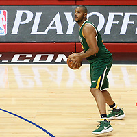 25 April 2017: Utah Jazz center Boris Diaw (33) looks to pass the ball during the Utah Jazz 96-92 victory over the Los Angeles Clippers, during game 5 of the first round of the Western Conference playoffs, at the Staples Center, Los Angeles, California, USA.
