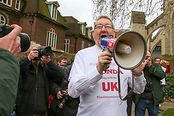 © Licensed to London News Pictures. 06/03/2019. London, UK. Len McCluskey General Secretary of Unite the Union speaking at the protest. Hundreds of Honda workers protest outside Houses of Parliament, lobbying Members of Parliament to save the plant in Swindon. The company made an announcement last month that the plant will close by 2021, with the loss of 3,500 jobs and possibly 12,000 jobs or more across the country. Photo credit: Dinendra Haria/LNP