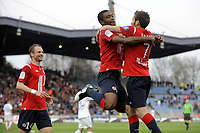FOOTBALL - FRENCH CHAMPIONSHIP 2010/2011 - L1 - LILLE OSC v SM CAEN - 2/04/2011 - PHOTO JEAN MARIE HERVIO / DPPI - JOY AURELIEN CHEDJOU / YOHAN CABAYE (LOSC) AFTER 1ST GOAL