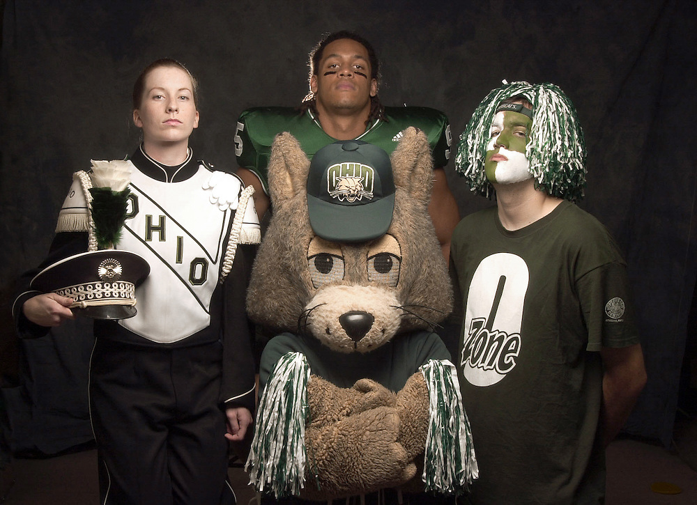 Bobcat, Fan, Football Player, and Marching Band Member Portrait for Poster