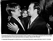 Leonardo di Caprio, Sharon Stone & Stephen Dorff. Publicist on far right.  during the the  Oscar Night party hosted by Steve Tisch and Vanity Fair. Los Angeles. March 1995. 95542/29<br />© Copyright Photograph by Dafydd Jones<br />66 Stockwell Park Rd. London SW9 0DA<br />Tel 0171 733 0108