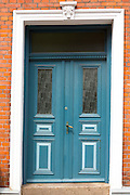 Painted door in medieval street in Ribe centre, South Jutland, Denmark