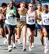Stefano Baldini , of Italy9 (2nd L), runs in the 2006 New York City Marathon in first place on Sunday 05 November 2006<br />