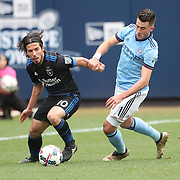 NEW YORK, NEW YORK - April 12: Jahmir Hyka #10 of San Jose Earthquakes is challenged by Jack Harrison #11 of New York City FC during the New York City FC Vs San Jose Earthquakes regular season MLS game at Yankee Stadium on April 1, 2017 in New York City. (Photo by Tim Clayton/Corbis via Getty Images)