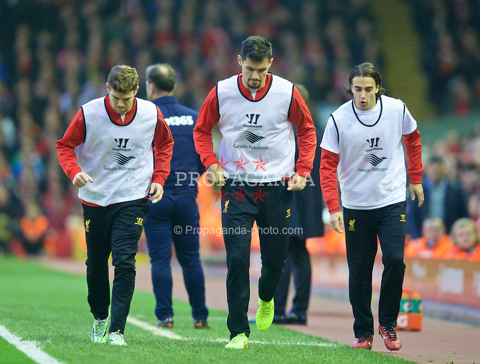 LIVERPOOL, ENGLAND - Saturday, November 29, 2014: Liverpool's substitutes Alberto Moreno, Dejan Lovren and Lazar Markovic during the Premier League match against Stoke City at Anfield. (Pic by David Rawcliffe/Propaganda)