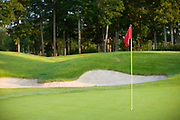Red flag on a pole sticking out of a hole on a golf course with a sand trap and trees in the background.