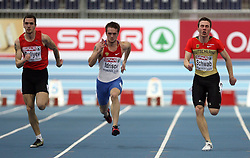 Ramil Guliyev (AZE), Mikhail Idrisov (RUS) and Stefan Schwab of Germany at the qualification of 60m men at the 2nd day of  European Athletics Indoor Championships Torino 2009 (6th - 8th March), at Oval Lingotto Stadium,  Torino, Italy, on March 6, 2009. (Photo by Vid Ponikvar / Sportida)