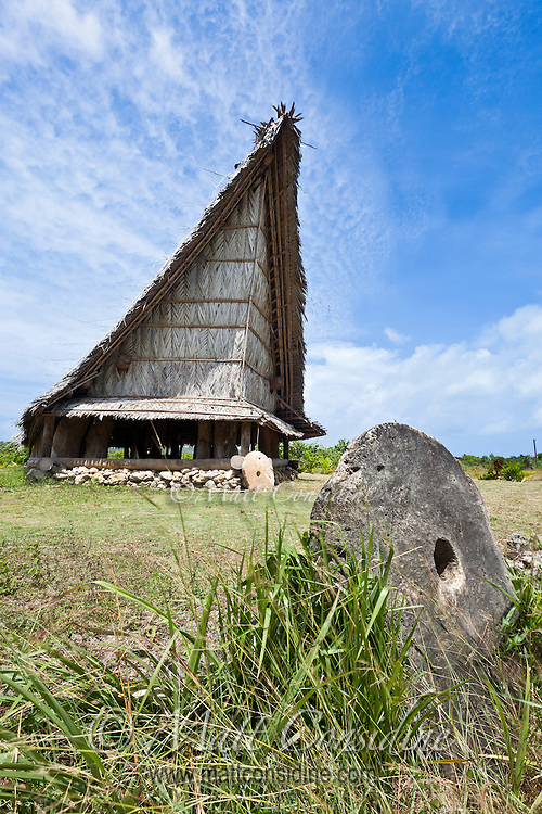 Ceremonial House and Stone Money, Yap Micronesia (Photo by Matt Considine - Images of Asia Collection)