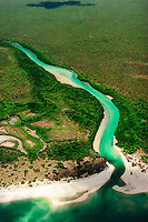 An aerial view of a pristine river in the vast expanse of western Cape York Peninsula, at the very tip of Australia in far north Queensland