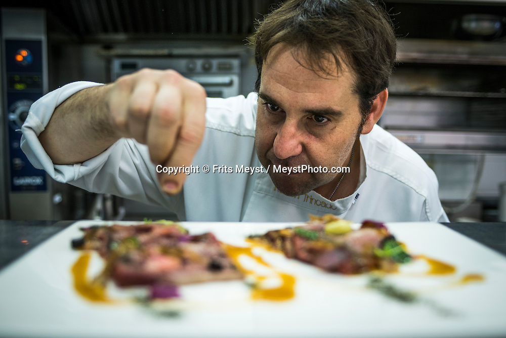San Sebastian, Gipuzkoa, Basque Country, Spain, June 2014. A cooking workshop with famous  Michelin star rated chef Ruben Trincado at his restaurant Mirador de Ulia, overlooking San Sebastian. The Basque Country (Basque: Euskadi, Spanish: Pais Vasco) is a region at the north of Spain, bordering the Atlantic Ocean and France. It is defined formally as an autonomous community of three provinces within Spain. Basque Country is one of the world's top gastronomic destinations. Photo by Frits Meyst / MeystPhoto.com
