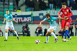 Rene Krhin of Slovenia and Dele Alli of England during football match between National teams of Slovenia and England in Round #3 of FIFA World Cup Russia 2018 qualifications in Group F, on October 11, 2016 in SRC Stozice, Ljubljana, Slovenia. Photo by Grega Valancic / Sportida
