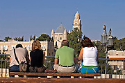 Dormition Abbey Jerusalem Israel as seen from the promenade, with tourists admiring the view