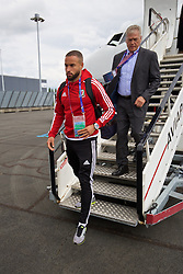 LILLE, FRANCE - Wednesday, June 15, 2016: Wales' Ashley 'Jazz' Richards and security guard Les Miles arrive in at Lille Lesquin International Airport as for their Group Stage MD 2 game of the UEFA Euro 2016 Championship against England. (Pic by David Rawcliffe/Propaganda)