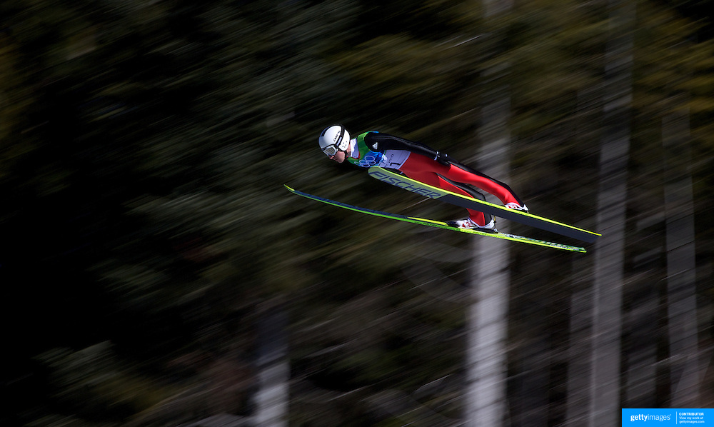 Winter Olympics, Vancouver, 2010. Simon Ammann, Switzerland, in action in the first round of the Ski Jumping Men's LH at Whistler Olympic Park, Whistler, during the Vancouver Winter Olympics. 20th February 2010. Photo Tim Clayton