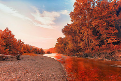 Indian Summer Colors Along Buffalo National River in Arkansas
