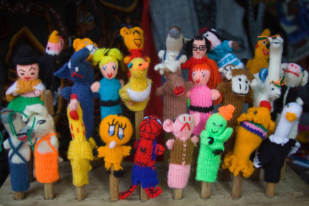 Finger puppets on display in market, Lima, Peru, South America
