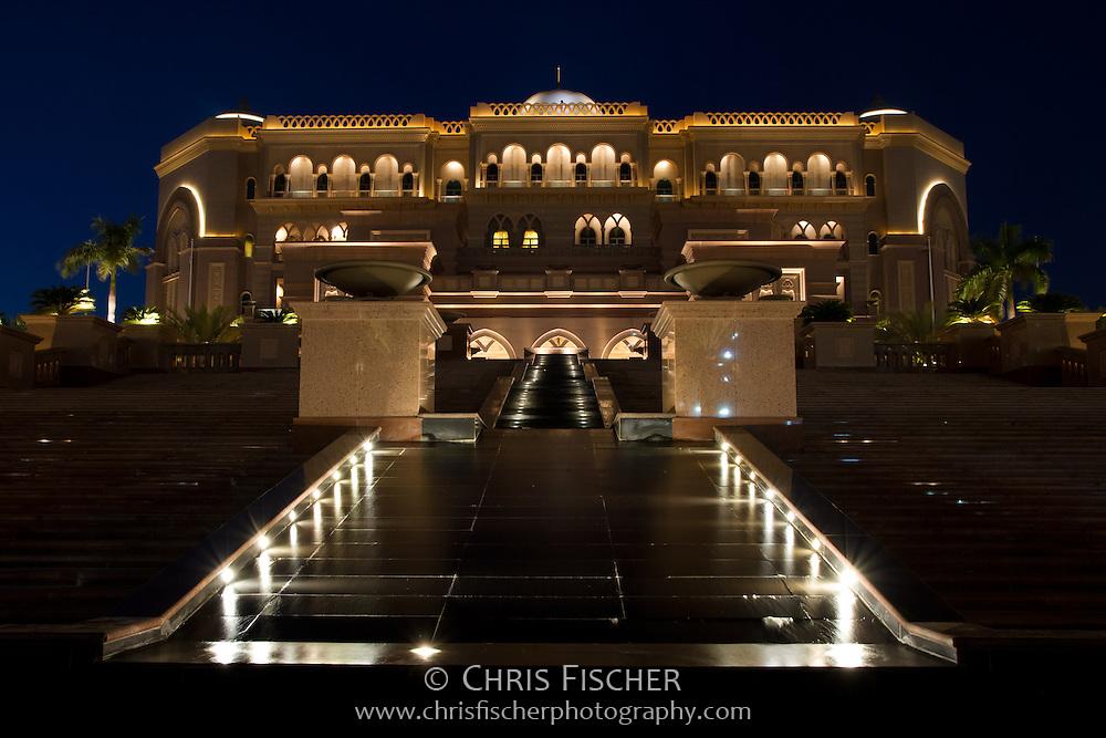 Night view of the Emirates Palace Hotel, Abu Dhabi.