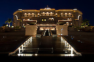Night view of the Emirates Palace Hotel, Abu Dhabi.