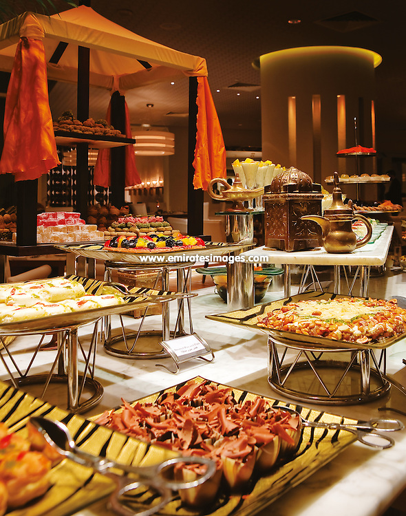 Iftar buffet served during Ramadan in Dubai, UAE. This buffet was served at the Raffles Hotel, Dubai.