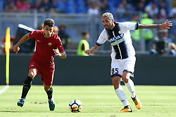 September 23, 2017 - Rome, Italy - Diego Perotti of Roma and Valon Behrami of Udinese during the Italian Serie A football match AS Roma vs Udinese on September 23, 2017 at the Olympic stadium in Rome. (Credit Image: © Matteo Ciambelli/NurPhoto via ZUMA Press)