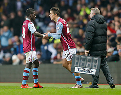 Jack Grealish of Aston Villa is brought on for Idrissa Gueye - Mandatory byline: Rogan Thomson/JMP - 13/12/2015 - FOOTBALL - Villa Park Stadium - Birmingham, England - Aston Villa v Arsenal - Barclays Premier League.