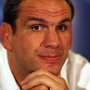 England coach Martin Johnson at a press conference in Queenstown during the IRB Rugby World Cup tournament.  Queenstown, New Zealand, 13th September 2011. Photo Tim Clayton...