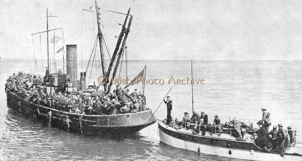 Operation Dynamo, the evacuation of British and Allied troops from Dunkirk 27 May to 3 June 1940.  Some of the 'little ships' who rescued  British, French and Belgian troops from Dunkirk in face of the German advance.